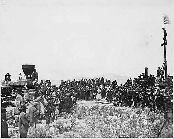 The spike at Promontory, Utah of the Transcontinental Railroad