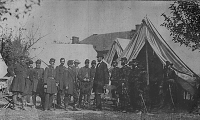 Abraham Lincoln visiting General McClellan at Antietam