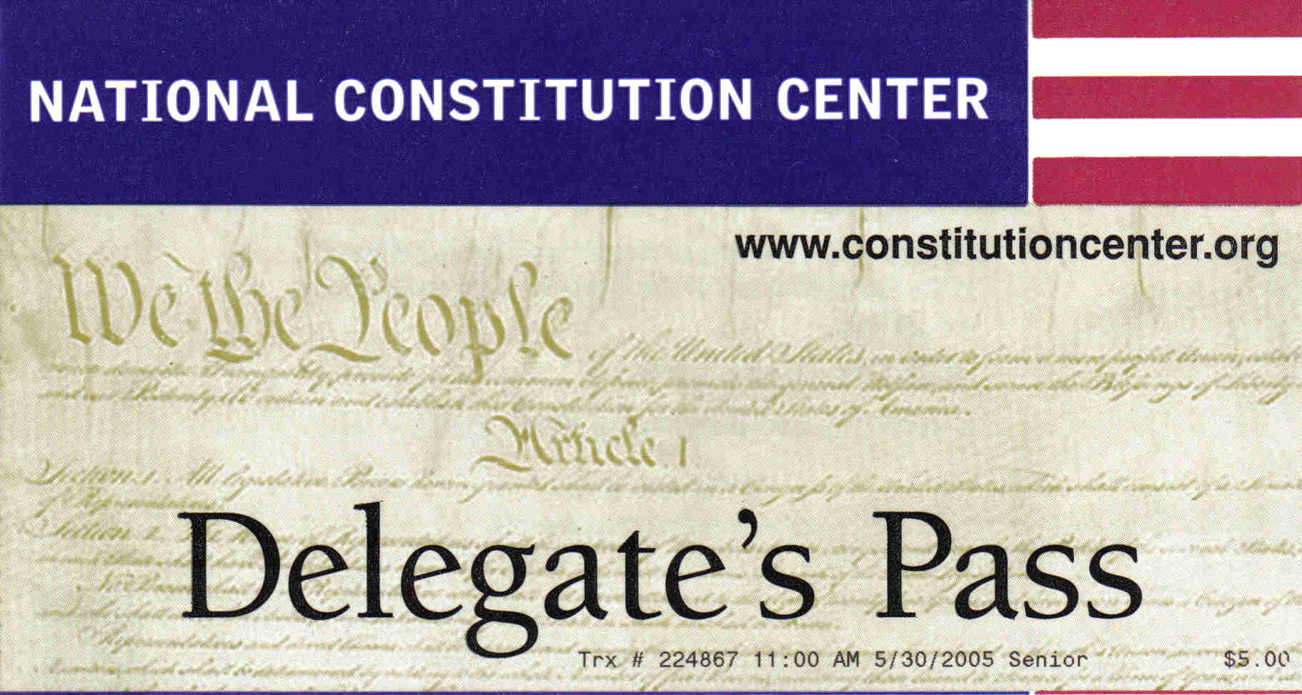 National Constitution Center ticket