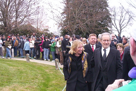 Steven Spielberg, Doris Kearns Goodwin at Wreath Laying Ceremony, Gettysburg Cemetery