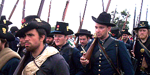 Reenactors leading the public at the Iron Brigade Battle Walk, Gettysburg 150th Anniversary