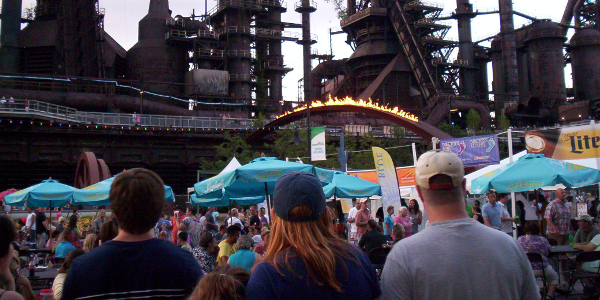 Musikfest Musical Festival held beneath the steelstacks of Bethlehem Steel.
