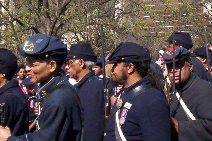 Reenactors of the U.S. Colored Troops entering Richmond