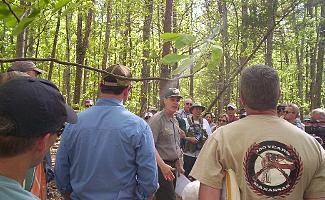 Park Ranger giving talk at Wilderness Battlefield