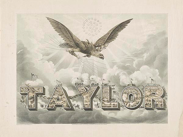 Zachary Taylor poster with Bald Eagle Symbol