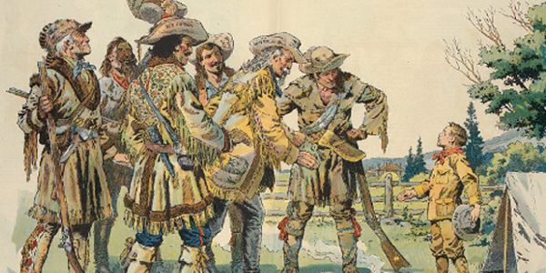 Frontiersmen meeting a Boy Scout
