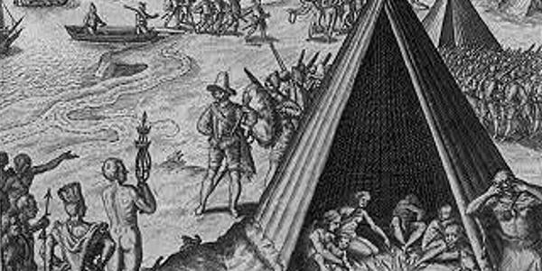 Francis Drake greeting the Indians
