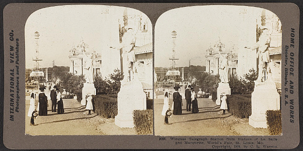 Statues of Marquette and Jolliet at the St. Louis World's Fair of 1904