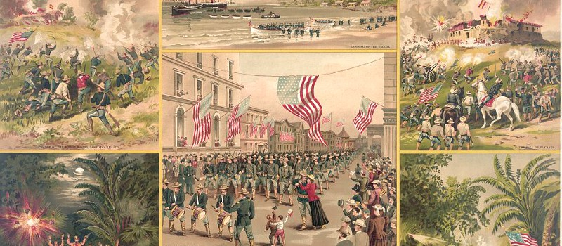 Lithograph of scenes from the Spanish American War