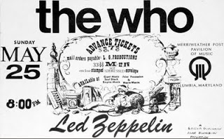 The Who, Led Zeppelen ticket, Merriweather Post Pavilion