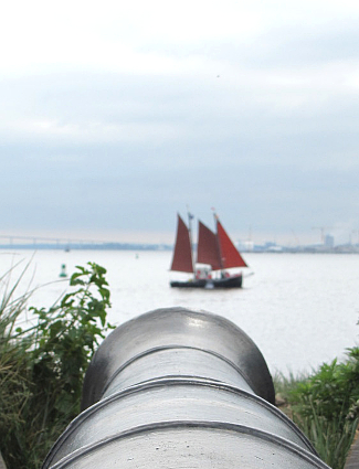 Cannon peering from Fort McHenry