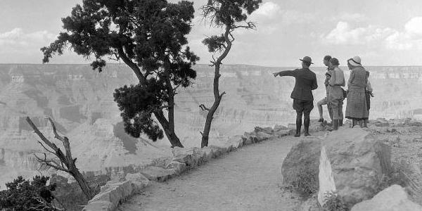 Period Grand Canyon National Park Ranger giving a tour