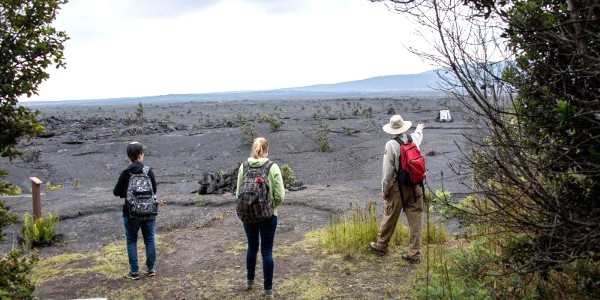 Hikers at Hawaii Volcanoes