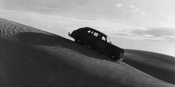 Car Driving the White Sands Dunes in 1941