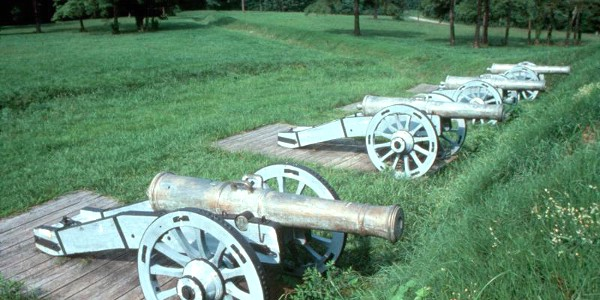 Cannons on the fields at Yorktown
