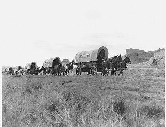 Pioneers in Conestoga Wagons