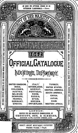 London Exhibition Catalogue 1862