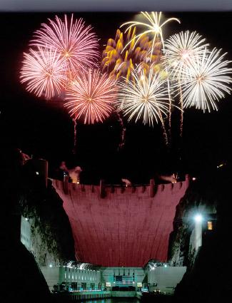 Fireworks over Hoover Dam