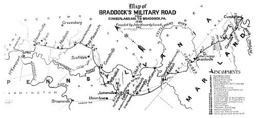Map of Braddock's Road