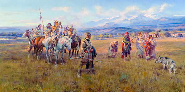 Lewis and Clark with Sacagawea at Shoshone Village