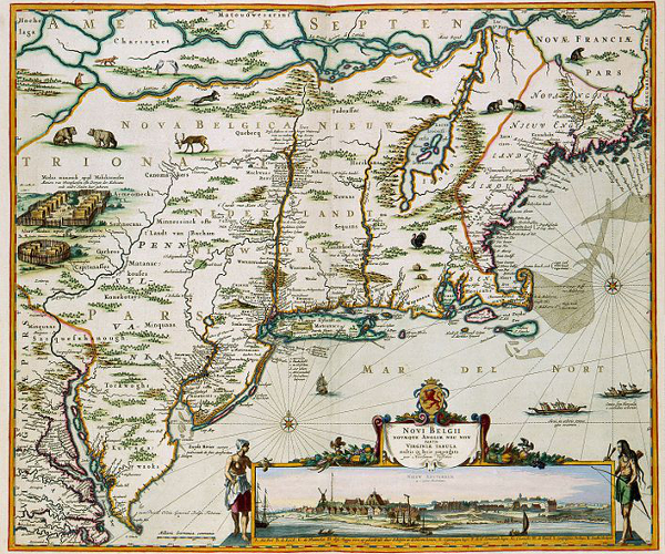 Map of New England and New Netherlands