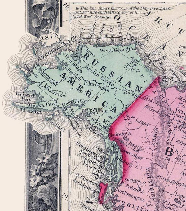 Russian American Map in 1860