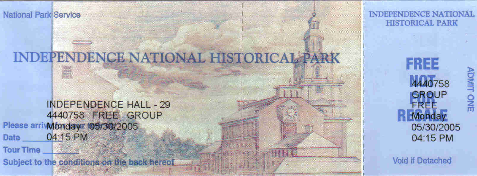 Independence Hall ticket