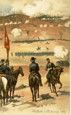 Officers on horseback at Battle of Chattanooga