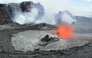 Lava spewing from a tube in Hawaii Volcanoes National Park